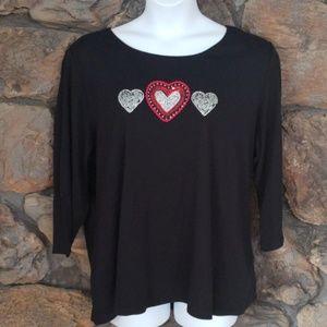 Karen Scott three hearts sweater sz 3X black red